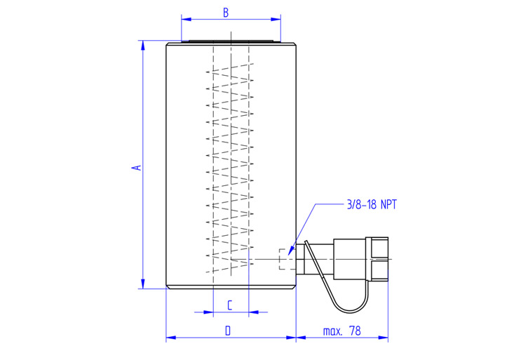 Hollow-Piston-Cylinder-HKZ-Series-Drawing
